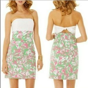 Lilly Pulitzer Strapless Pink Green & White Dress